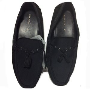 Zara Mens Suede & Fabric Black Driving Loafers 12